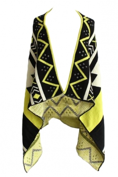 Yellow Sexy Ladies Argyle Patterned Cardigan Sweater