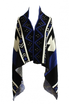 Navy Blue Sexy Ladies Argyle Patterned Cardigan Sweater