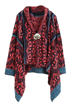Ruby Chic Womens Pop Art Patterned Cardigan Sweater