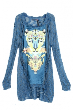 Blue Cool Womens Leopard Long Sleeve Patterned Pullover Sweater