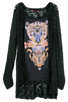 Black Cool Womens Leopard Long Sleeve Patterned Pullover Sweater