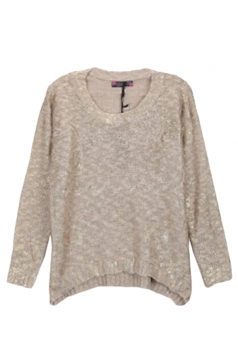 Khaki Sexy Ladies Gilding Long Sleeve Patterned Pullover Sweater