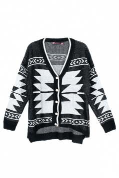 Black Ladies Long Sleeves Chic Argyle Patterned Cardigan Sweater