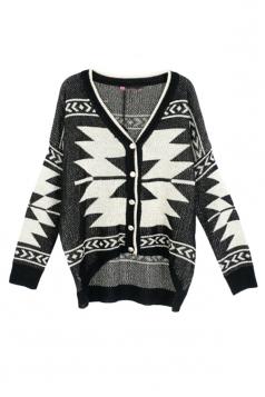 Beige Ladies Long Sleeves Chic Argyle Patterned Cardigan Sweater