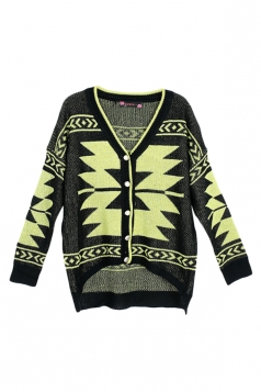 Green Ladies Long Sleeves Chic Argyle Patterned Cardigan Sweater