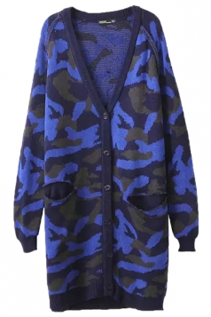 Blue Retro Ladies Long Sleeves Camouflage Patterned Cardigan Sweater