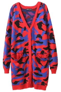 Red Retro Ladies Long Sleeves Camouflage Patterned Cardigan Sweater