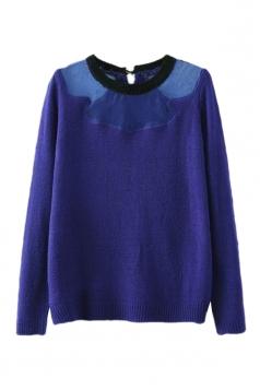 Blue Trendy Womens Organza Patchwork Crew Neck Plain Pullover Sweater