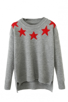 Gray Chic Womens Crew Neck Star Patterned High Low Pullover Sweater