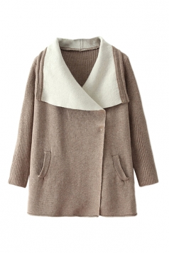 Khaki Ladies Trendy Color Block Turndown Collar Warm Sweater Coat