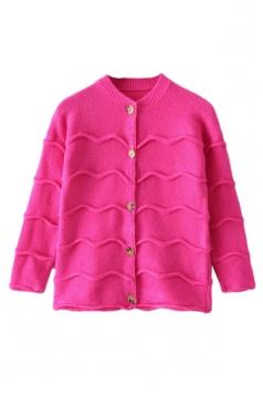 Rose Red Modern Womens Wave Patten Long Sleeve Plain Cardigan Sweater