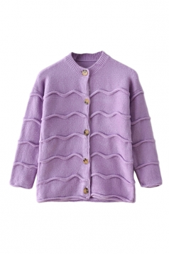 Purple Modern Womens Wave Patten Long Sleeve Plain Cardigan Sweater