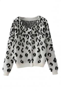 White Wild Womens Long Sleeve Leopard Patterned Cardigan Sweater