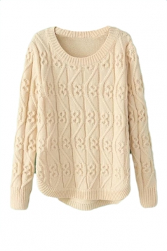 Beige Sexy Womens Cable Knit Long Sleeve Plain Pullover Sweater