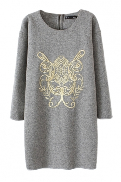 Gray Elegant Ladies Embroidery Long Sleeve Pullover Sweater Dress