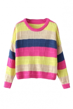 Blue Cute Ladies Colorful Rainbow Strip Patterned Pullover Sweater