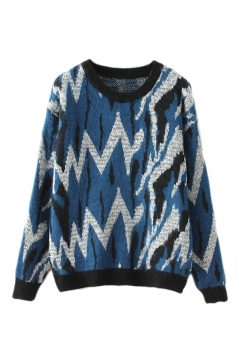 Blue Pretty Womens Zebra Strip Crew Neck Patterned Pullover Sweater