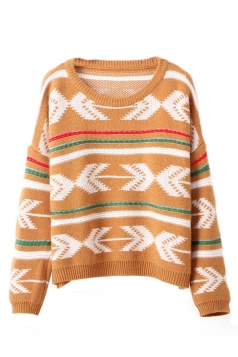 Yellow Stylish Ladies Crew Neck Arrow Patterned Pullover Sweater