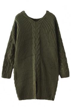 Green Fashion Ladies Loose Long Sleeve Slit Plain Pullover Sweater
