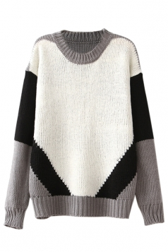 White Sexy Womens Color Block Crew Neck Patterned Pullover Sweater