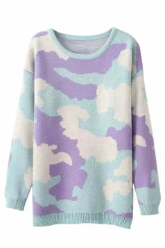 Purple Cool Ladies Camouflage Crew Neck Patterned Pullover Sweater