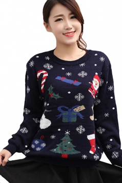 Navy Blue Womens Cute Snowflake Ugly Christmas Sweater