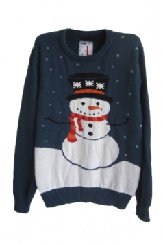 Navy Blue Womens Funny Ugly Christmas Snowman Pattern Sweater