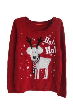 Red Cute Winter Warm Womens Reindeer Ugly Christmas Sweater