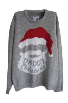 Gray Ladies Vintage Ugly Christmas Santa Claus Pattern Sweater