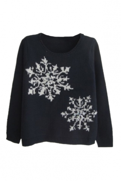 Navy Blue Fancy Ladies Long Sleeves Snowflakes Ugly Christmas Sweater