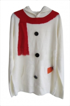 White Unique Womens Hooded Ugly Christmas Snowman Sweater