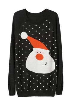 Black Pullover Womens Santa Pattern Ugly Christmas Sweater