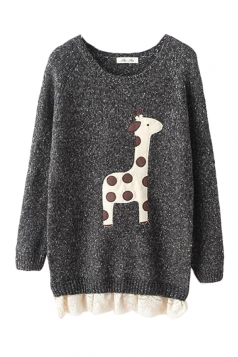 Black Cute Cartoon Giraffe Lace Patchwork Ugly Christmas Sweater