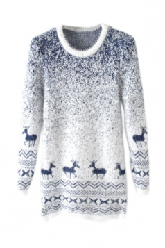 Navy Blue Mohair Reindeer Pullover Gradient Ugly Christmas Sweater