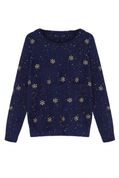 Navy Blue Snowflakes Ladies Mohair Pullover Ugly Christmas Sweater