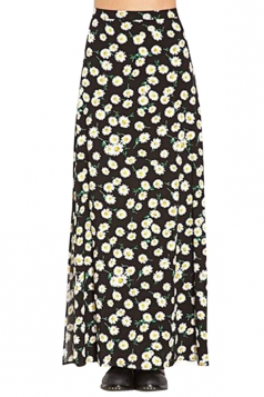 Black Charming Ladies Daisy Printed Slit Maxi Skirt