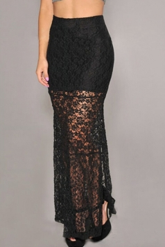 Black Trendy Womens High Waisted Lace Jacquard Maxi Skirt