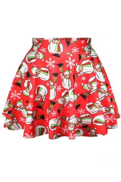 Red Ugly Christmas Snowman Womens Cute Holiday Pleated Skirt