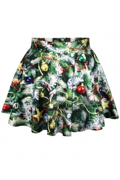 Green Womens Ugly Christmas Trees Printed Pleated Fancy Skirt