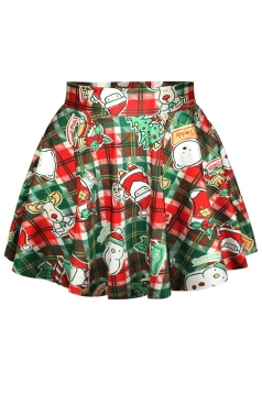 Red Womens Cute Christmas Items Printed Ugly Pleated Skirt