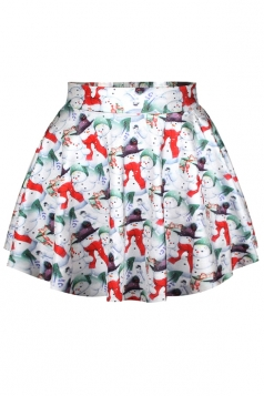White Fancy Cute Snowman Printed Ugly Christmas Pleated Skirt