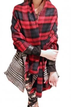 Red Trendy Womens Warm Winter Thicken Plaid Scarf