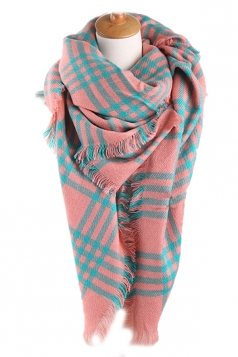 Pink Pretty Ladies Warm Winter Colorful Plaid Scarf