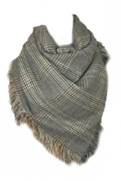 Gray Chic Ladies Warm Fringe Houndstooth Pattern Plaid Scarf