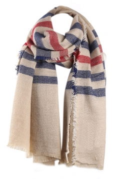 Navy Blue Fashion Womens Cashmere Plaid Pattern Strip Scarf