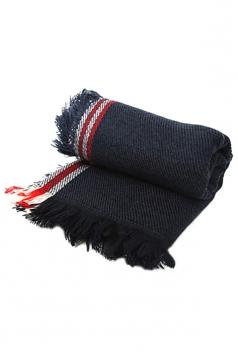 Black Trendy Ladies Fringe Shawl Warm Winter Strip Scarf