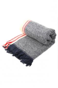 Gray Trendy Ladies Fringe Shawl Warm Winter Strip Scarf
