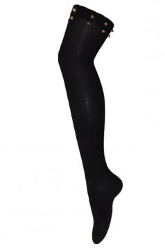 Black Sexy Womens Rivet Plain Overknee Long Stockings