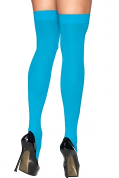 Blue Modern Ladies Candy Color Plain Long Stockings