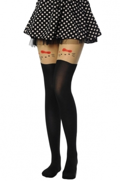 Black Pretty Ladies Cat Velvet Overknee Tights